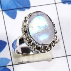 Cut Rainbow Moonstone Ring, 925 Sterling Silver Handmade Designer Ring, Genuine Rainbow Moonstone Ring, Gemstone Ring-SDR745-A #rainbowmoonstone www.cosmocrafter.com