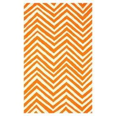 Anchor your dining set or patio seating group in chic style with this lovely hand-hooked rug, showcasing a chevron motif in orange.    ...
