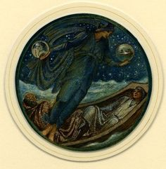 Drawn by Edward Burne-Jones 1882-1898  False Mercury (The Dream-god shewing happy dreams of home to sleeping mariners at sea), formerly in an album of 42 drawings, entitled 'The Flower Book', 1882-98; a boat carrying two passengers on a rough sea at night, Mercury in blue holding a globe in either hand and standing on the edge of the boat Watercolour and bodycolour, heightened with gold.