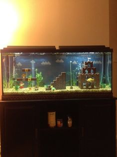 Super Mario aquarium, I want this. I love super mario Lego Super Mario, Super Mario Bros, Lego Mario, Mario Toys, Deco Gamer, Georg Christoph Lichtenberg, Deco Cool, Fire Flower, Aquarium Decorations
