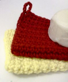 Facial Clothsset of 2 in Red and Yellow by grammalea on Etsy, $5.75
