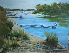 """""""Parker River"""" - © Mary Pyche - on masonite, plein air - 8x10 in - This plein air painting was painted onaboat ramp at Parker River looking towards the open ocean off the coast of Massachusetts. Betsy and I watched as her whole set-up fell off the edge and floated to the bottom! Fine Art Gallery, Massachusetts, Coast, Mary, Ocean, River, The Originals, Artist, Painting"""