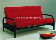 Arm Span Futon Sofa Bed Frame (Mattress is not included) By Acme Furniture by Acme Furniture. $250.99. Mattress sold separately. Goes with any décor. Assembly required. Changes quickly from a loveseat into a full size bed. Sturdy black metal frame. Turn any room into a guest room with this futon frame from the Alfonso collection. This sturdy black metal frame goes with any décor and changes quickly from a loveseat into a full size bed. This listing is only for...
