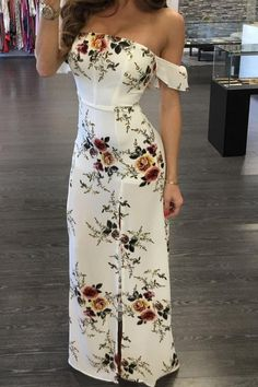 Ideas Wedding Guest Dresses Summer Long Beautiful For 2019 Pretty Dresses, Beautiful Dresses, Casual Dresses, Fashion Dresses, Evening Dresses, Summer Dresses, Summer Outfits, Maxi Dress With Slit, Floral Maxi