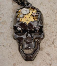 SteamPunk Gothic Skull Necklace Pendant by CulturalDiversion, $50.00
