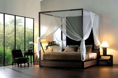 Cool Modern Canopy Bed Design With Lovely White Netting DIY Bed Canopy For Girls, Home Environment ~ magetjooz