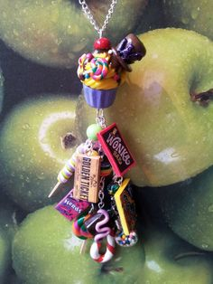 Willy Wonka Candy Cupcake Charm Necklace