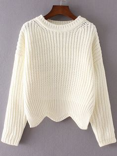 To find out about the White Ribbed Trim Drop Shoulder Asymmetrical Hem Knitwear at SHEIN, part of our latest Sweaters ready to shop online today! Mohair Sweater, Sweater Coats, Pullover Sweaters, Outfits For Teens, Trendy Outfits, Cute Outfits, Fashion Outfits, Casual Sweaters, White Sweaters