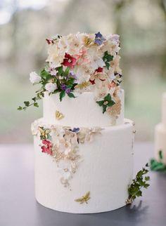 A beautiful floral wedding cake.