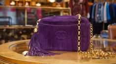 What Goes Around Comes Around  purple quilted Chanel vintage bag