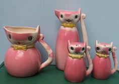 Vintage Pink Ceramic Cat Set, Salt, Pepper, Oil , Japan - Set of Four (Creamer?