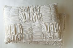 how to: gather with a serger  tutorial: basket weave pillow