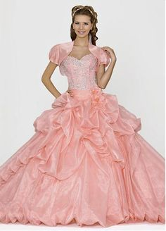 Brilliant Organza Satin Ball Gown Sweetheart Neckline Quinceanera Dress With Beadings and Rhinestones