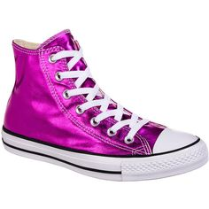 Converse All Star Metallic Hi Top Boots (Magenta Glow) ($67) ❤ liked on Polyvore featuring shoes, boots, converse high tops, high top boots, converse shoes, hi tops and high top shoes