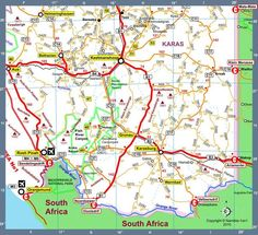 Map of Namibia Africa Road Map I Version 2010 Colonial, Safari, Road Trip, Wanderlust, Camping, Travel, Africa, Campsite, Viajes