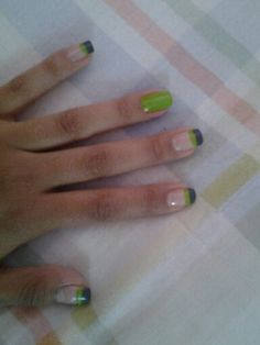 Nails gray green french easy