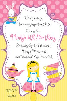 alice in wonderland tea party birthday party invitation parties