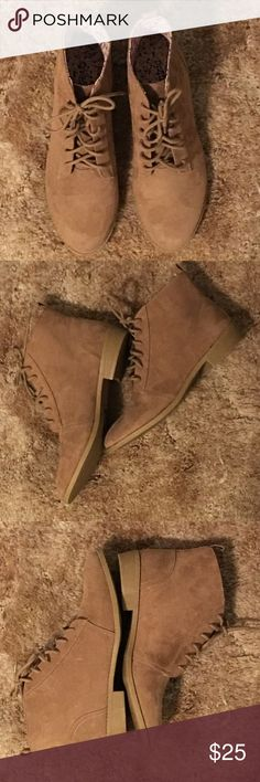 New Brown Suede Leather Ankle Boots! New Brown Suede Leather Ankle Boots! Brand New -Sticker still on bottom. Never Worn. Women's size 7. Shoes Lace Up Boots