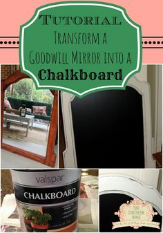 Goodwill Mirror to Chalkboard Tutorial from Our Southern Home