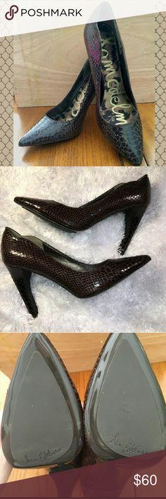 "Sam Edelman brown sadie heels Beautiful brown faux snakeskin 3"" heels. NWOT. Never worn. Smoke free/pet free home. No trades. I only deal through Poshmark. Sam Edelman Shoes Heels"
