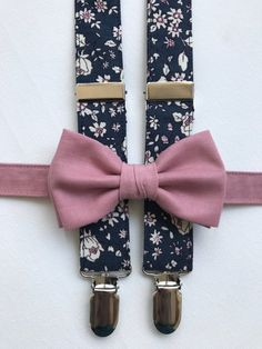 1d5fc4d09299 Dusty rose bow tie and navy floral suspenders groomsmen, dusty rose and  navy wedding accessories, floral navy suspenders rustic wedding tie