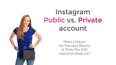 Instagram Public Vs. Private Account for Direct Sales consultants Here's how to switch to a public or private account on Instagram Using Instagram for your direct sales business is not an option anymore! Learn how to use instagram for your direct sales business. Melissa FIetsam, Ind. Executive Director at Thirty-One Gifts www.buymybags.com #thirytone #Thirtyonegifts #Instagram #howtouseinstagram #directsales