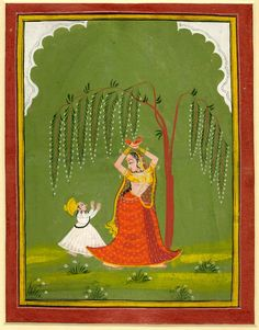 A female attendant is standing in tribhanga pose under a tree. A small child vies for her attention. Gouache painting on paper,     Udaipur Style, Rajasthan School, ca. 1800