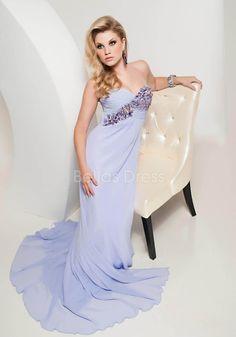 Backless Chiffon Floor Length Sweetheart Empire Sheath/ Column Prom Gown