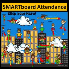 Super Hero Smartboard Attendance Your students will LOVE SMARTboard attendance, especially this fun, super hero themed one. Students will come in, click their hero and he& will fly away! To use, just type in your 2nd Grade Classroom, New Classroom, Kindergarten Classroom, Kindergarten Activities, Classroom Themes, Autism Classroom, Classroom Organization, Superhero School Theme, School Themes