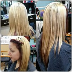 Heavy blonde hilights with a deep Violet red underneath that wraps around the perimeter of the head. Aloxxi color: equal parts 6XR & 4V w/ 10 volume on prelightened hair (previously had full head of hilights) BW2 for the blonde