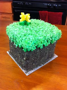 Minecraft Grass Block cake I made [^.^]