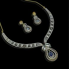 Cz blue sapphire real diamond pattern necklace set