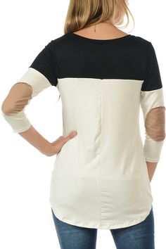 Black Color Block Sleeve Elbow Patch Tee