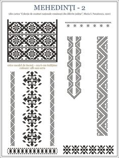 Semne Cusute: ie din Mehedinti, OLTENIA Folk Embroidery, Embroidery Patterns, Cross Stitch Patterns, Folk Fashion, Hama Beads, Beading Patterns, Pixel Art, Diy Crafts, Traditional