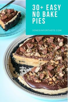 Choose from one of these amazing easy no bake pies to satisfy your sweet tooth that won't keep you nice and cool this summer. These are perfect whether you want to make a pie just for yourself (totally not judging) or need an easy dessert to take to a potluck or party. Chocolate Chip Cookie Pie, No Bake Chocolate Cheesecake, No Bake Pumpkin Cheesecake, New Dessert Recipe, Dessert Recipes, Easy No Bake Desserts, Delicious Desserts, Oreo Cream Pies, Sweet Whipped Cream