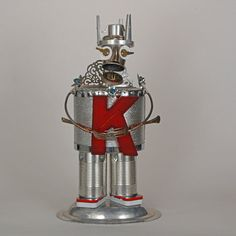 The King  Recycled Robot Assemblage Art Scuplture by StangMont, $200.00