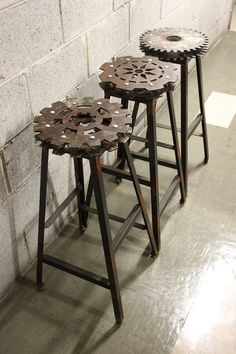Man Cave Furniture Decorating Ideas Metal Gear Bar Stools I wonder if ypu could set them in Resin first? Industrial Bar Stools, Vintage Industrial Furniture, Industrial House, Industrial Chic, Industrial Bookshelf, Industrial Windows, Industrial Bathroom, Industrial Office, Industrial Farmhouse