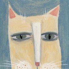 Yellow Cat Original Painting Cat Folk Art Whimsical