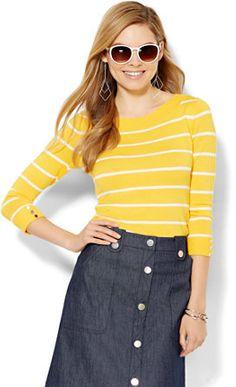 Bateau-Neck Sweater - Striped