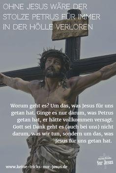 """Petrus verleugnete Jesus. Nicht nur einmal, sondern dreimal. In Todesnot vor mächtig bedrohlichen römischen Soldaten? Nein, vor einer jungen ungefährlichen Magd. Und sogar mit einem Eid: """"Da leugnete er wieder, (diesmal) mit einem Eid: »Ich kenne den Menschen nicht!«"""" (Matthäus 26:72) ● Petrus, der weiß, wovon er redet, empfiehlt Ihnen: """"setzt eure Hoffnung ausschließlich auf die Gnade"""" (1. Petrus 1:13)"""