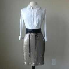 Champagne goldtone sequin stretch pencil skirt Shirt and belt are not for sale, Fully lined, center back zip with hook and eye closure, champagne hued sequins, shell: 100% nylon,  Measurements in inches -  Size 6: waist 31, hip 39.5, length 19.5.  Size 8: waist 31.5, hip 41, length 19.5.  Size 10: waist 32.5, hip 42, length 19.75.  Size 12: waist 34, hip 43.5, length 20.  Size 14: waist 35.5, hip 44, length 20.5 Size 16: waist 37.5, hip 46.5, length 20.5 White House Black Market Skirts Mini