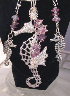 Stunning Amethyst SEAHORSE Pendant Earring SET, Rhinestone Jewelry,Articulated, OOAK  By #KCTexas #TexasWoman