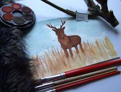 akwarelowy jeleń/watercolor deer