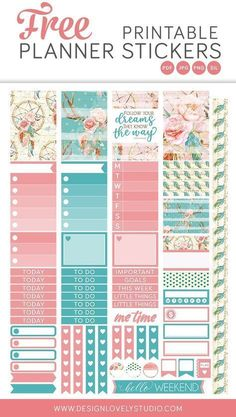 Free printable planner stickers from Design Lovely Studio! Click the image to get your free gift! Beautiful pink and turquoise stickers with floral motifs. To Do Planner, Mini Happy Planner, Free Planner, Planner Journal, Journal Notebook, Planner Ideas, Free Printable Planner Stickers, Freebies Printable, Bujo