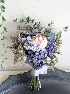 アースカラーのブーケ- ドライフラワーリース/ウェルカムボード/ ウェルカムリース| Dried Flower Arrangement ''Peony'' ピオニー