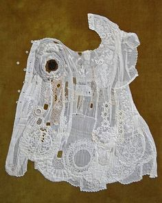 "Diane Savona, Textile Artist Fossil Garments "" As a part of daily life, sewing is a dying skill. Expertise that was passed down, mother to daughter, for hundreds of years is now dying out: types of mending are no longer general knowledge, and most young people don't own a pin cushion. Hence, my work shows textiles in an archaeological context."""