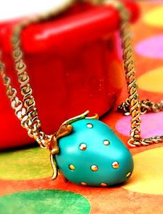 #DIY polymer clay strawberry necklace!