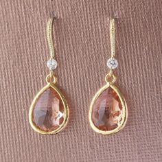 Gold Crystal Dangle Earrings Dangle Bridesmaid by jjensenweddings