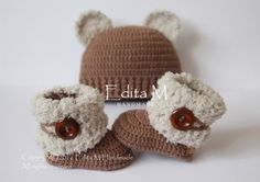 Buy Now Unisex baby set crochet baby set baby booties baby. Crochet Baby Boots, Baby Girl Crochet, Baby Blanket Crochet, Crochet For Kids, Crochet Hats, Booties Crochet, Baby Set, Baby Girl Hats, Baby Booties