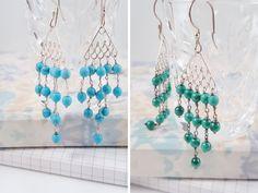 Turquoise Chandelier Earrings, Malachite Earrings, Ocean inspired jewelry, Gift For Her,Sky Blue earrings,Tassel Earrings,Fish Tail Earrings by AtehModus on Etsy